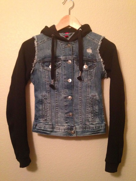 jacket denim jacket hoodie h&m size 6