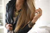 gold,black,cuff,jewelry,leather,jacket,jewels,ethnic,hippie,bracelets,necklace,aztec