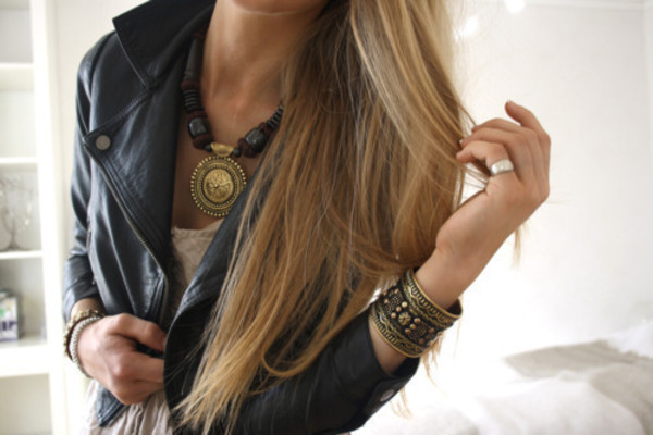 gold black cuff jewelry leather jacket jewels ethnic hippie bracelets necklace aztec