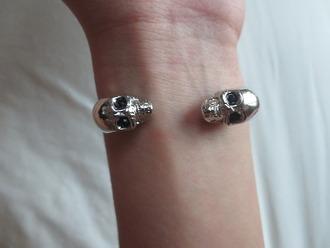 jewels skull tumblr bracelets silver halloween