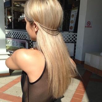 hair accessory chain head jewels hair gold chain