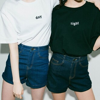 t-shirt black and white yin yang it girl shop high waisted shorts hippie hipster grunge cool