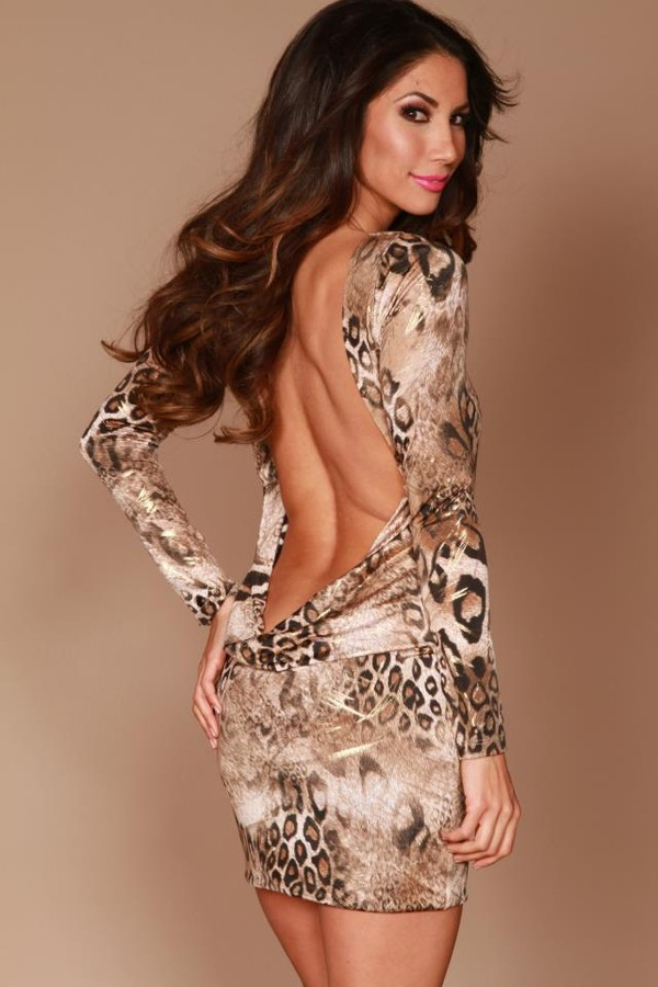 dress ustrendy ustrendy dress low back dress open back open back dresses animal print