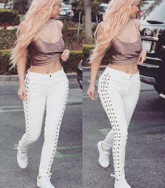 kylie jenner white pants skinny pants