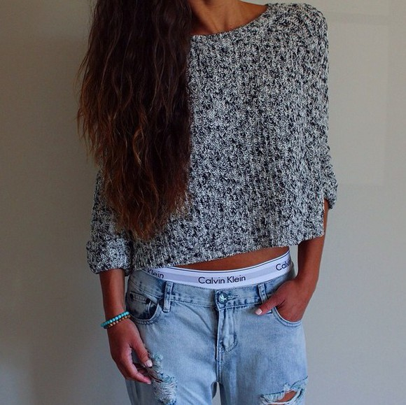 style fashion girly hipster brandy melville lovely calvin klein underwear ripped jeans jeans