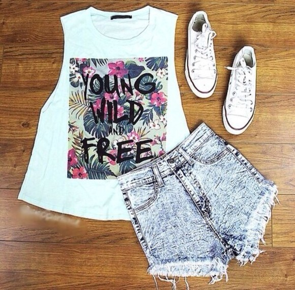shirt denim shorts shorts acid washed shorts flower t shirt converse