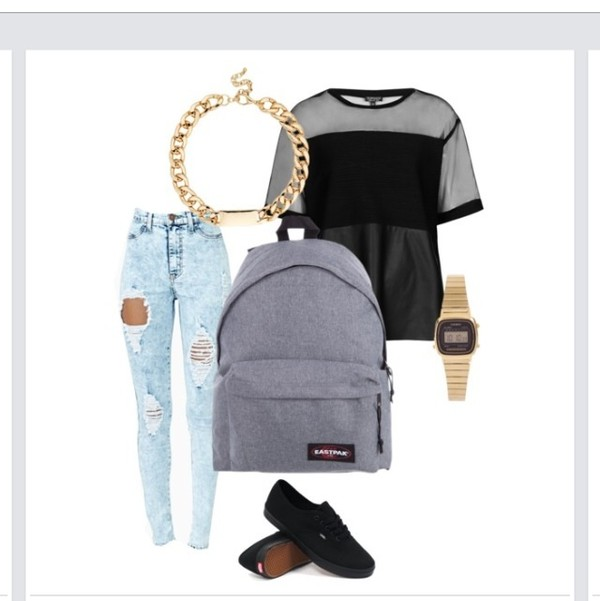 t-shirt black t-shirt jeans necklace backpack watch jewels