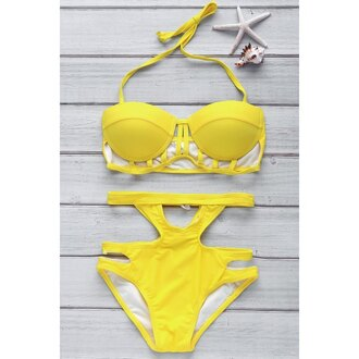swimwear bikini yellow beach summer high waisted sexy hot trendsgal.com