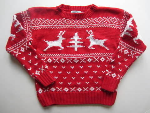 Boys Ugly Christmas Sweater Red Reindeer Trees Kitestrings Tacky Holiday Sz 7 | eBay
