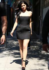 dress,mini dress,black dress,bustier,bustier dress,kylie jenner,kardashians,sandals,high heels,summer,summer dress,summer outfits,strapless dress,shoes