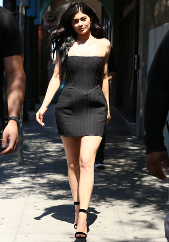 dress mini dress black dress bustier bustier dress kylie jenner kardashians sandals high heels summer summer dress summer outfits strapless dress shoes