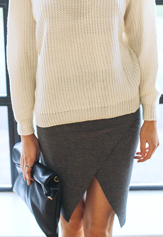 Wool blend pencil skirt with wrap