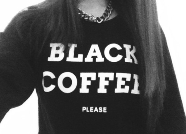 sweater black coffee jewels black top shirt truebeautyg