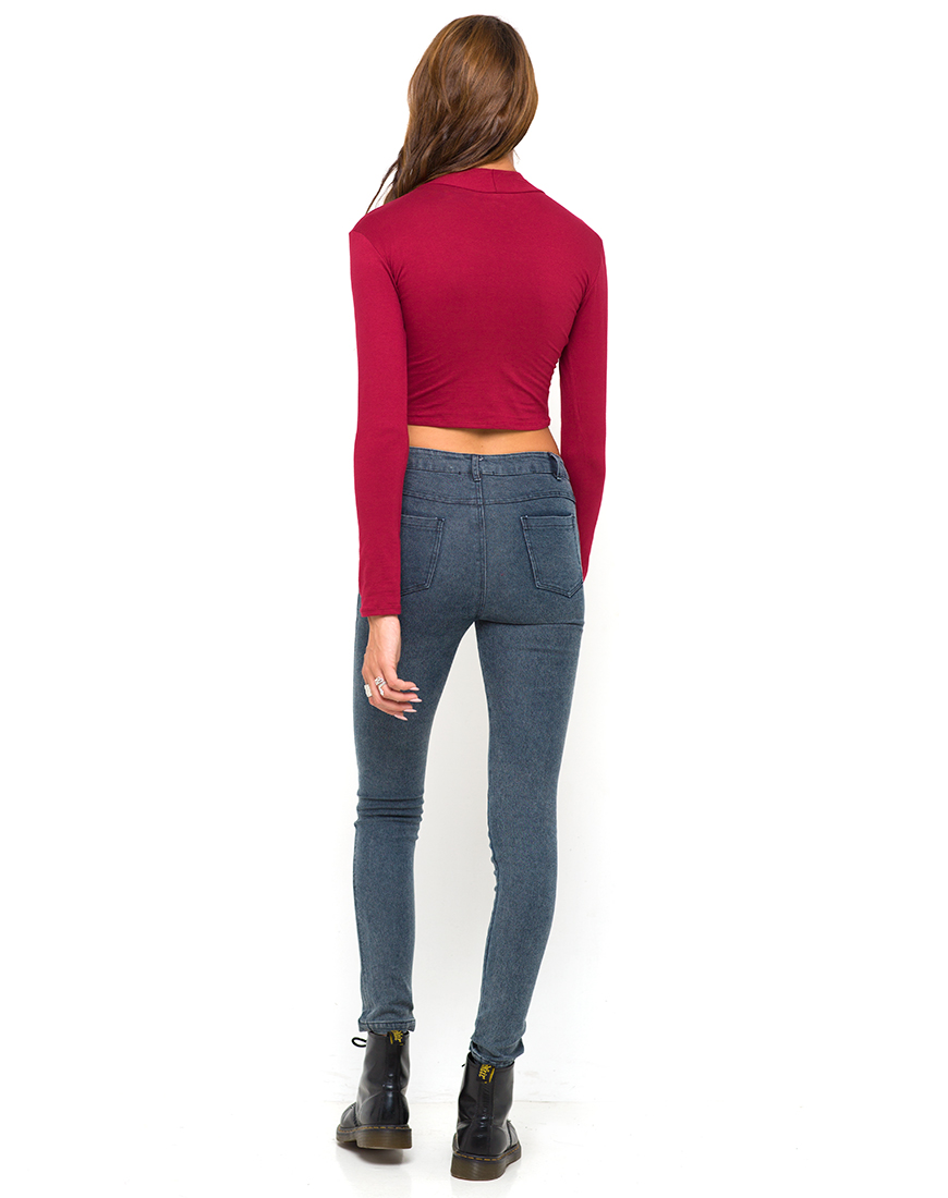 Buy Motel Lara Turtleneck Crop Top in Maroon at Motel Rocks