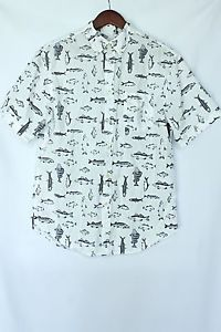 JustVu.com Merona Hipster Fish Button-down shirt size M