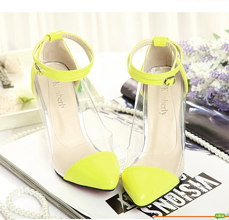Sole Neon Color Sexy Transparent Pumps Patent Leather Ankle Strap ...