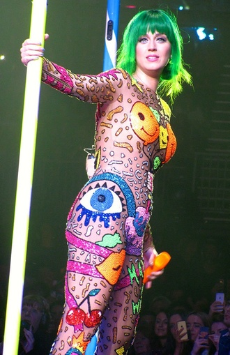 katy perry jumpsuit prism balloons naked skin gems green