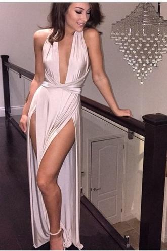 silk dress deep v slit blush nude dress