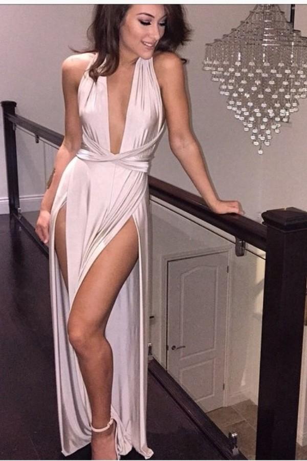 Dress Silk Dress Deep V Slit Blush Nude Dress