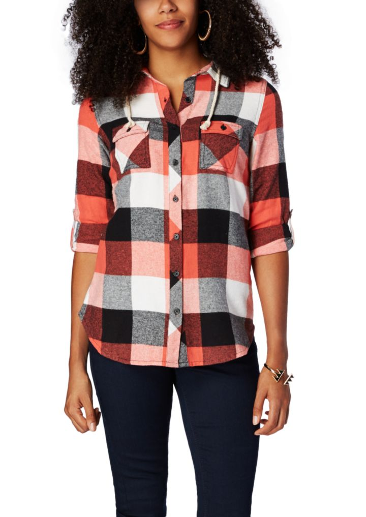 Hooded Plaid Flannel Button Down | Shirts & Blouses | rue21