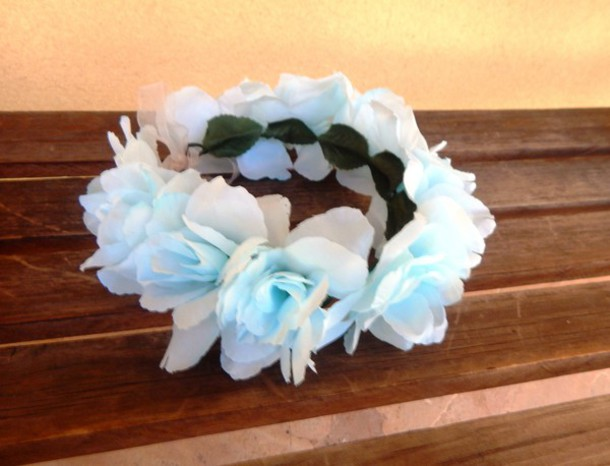 hair accessory blue rose flower crown floral halo blue roses flower crown hippie hippie chic hippie headband