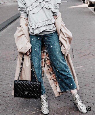 jeans tumblr top ruffled top grey top embellished denim blue jeans cropped jeans boots ankle boots snake print bag black bag ruffle