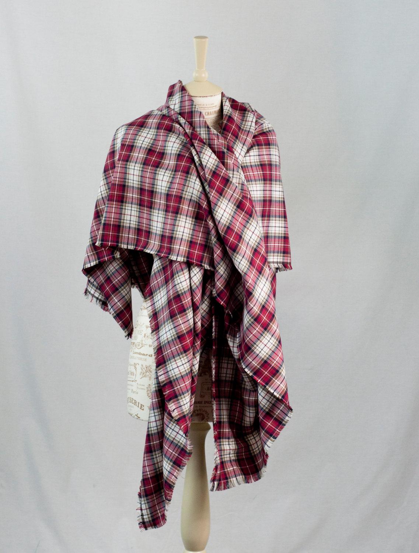 8599fec1ee094 Red Plaid Blanket Scarf, Oversized Plaid Scarf, Oversize Tartan Wrap Scarf  Navy Woven Scarf, Cotton Shawl Womens ...