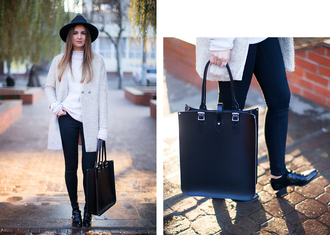 blogger fashion agony winter outfits oxfords white coat fedora