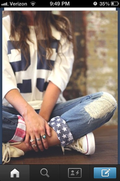 jeans red white and blue american flag stars usa blue white red blue jeans cuffs america america jeans cute american flag jeans shirt