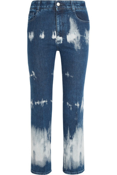 Stella McCartney - Cropped Tie-dyed High-rise Bootcut Jeans - Mid denim