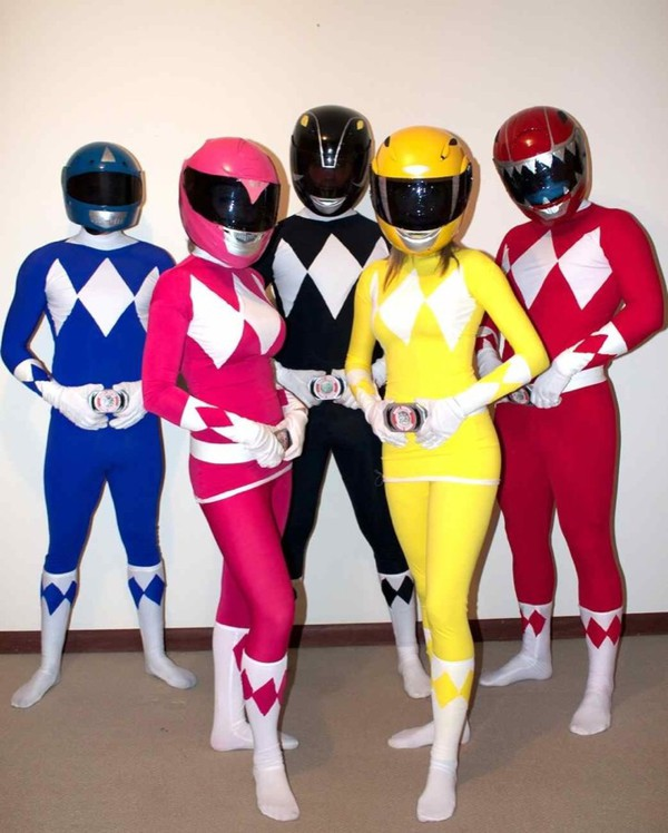 tights costume power rangers red yellow bodysuit helmet black pink blue socks jumpsuit yellow bodysuit