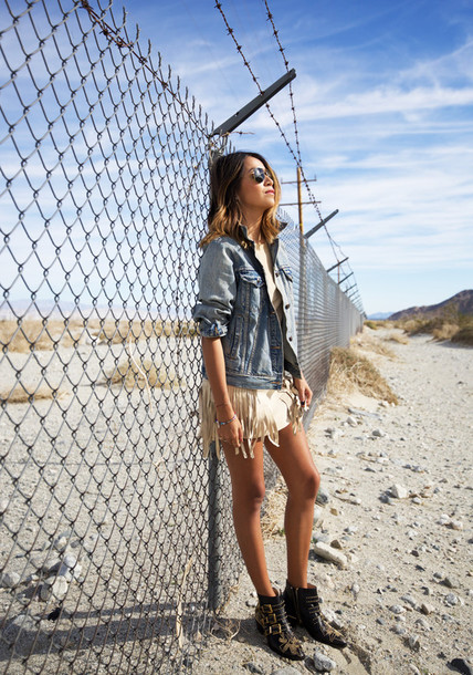 sincerely jules blogger denim jacket studded shoes dress jacket shoes sunglasses susanna boots blue jacket aviator sunglasses fringes ankle boots black boots studded