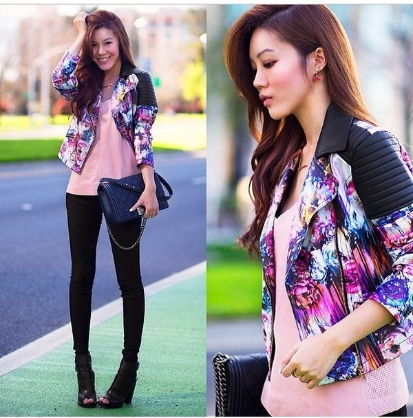 jacket biker jacket leather jacket colorful leather shoulders colourful jacket