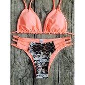 swimwear,bikini,coral,summer,beach,trendy,fashion,strappy,rose wholesale-ap
