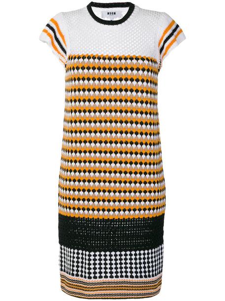 MSGM dress women cotton knit yellow orange
