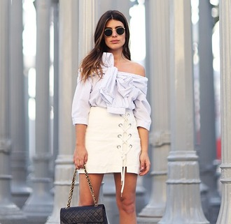 zebratrash blogger skirt lace up mini skirt white skirt tie-front top off the shoulder long sleeves chanel