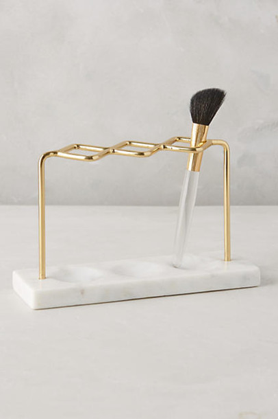 make-up makeup brushes gold marble home accessory bathroom beauty organizer mothers day gift idea
