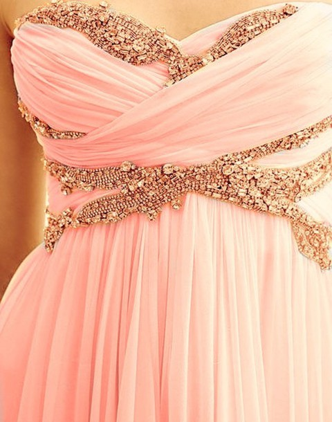 Dress: pink, strapless, jeweled, strapless dress, light pink, pink ...