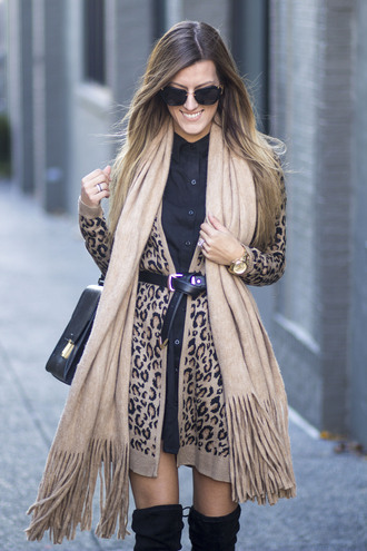 cardigan tumblr printed cardigan leopard print animal print dress black dress mini dress shirt dress boots black boots over the knee boots thigh high boots sunglasses scarf bag black bag