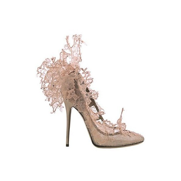 Philip treacy for valentino lace court shoe nude accessories...