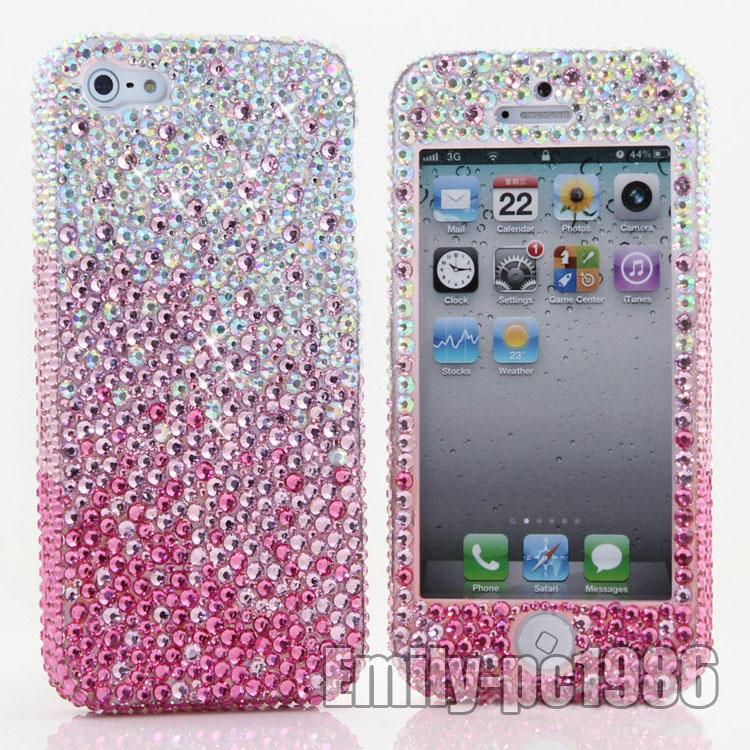 Bling Handmade Front Back Swarovski Element Crystal Case for iPhone 5 4S AB Pink | eBay