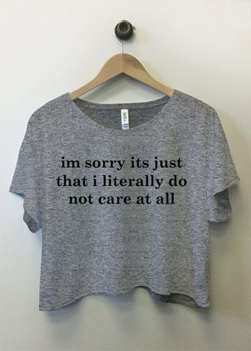 Do Not Care At All, Sorry: Custom Bella Flowy Boxy Lightweight Crop Top T-Shirt - Customized Girl