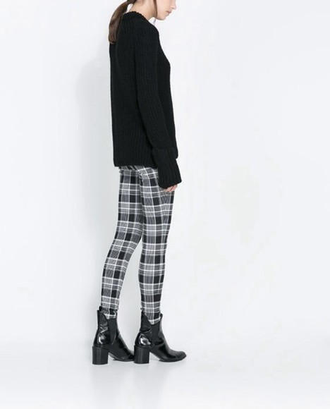 tartan pants tumblr black trousers white black winter outfits
