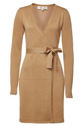 dress,wrap dress,metallic,wool,gold