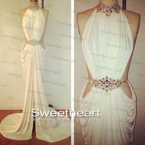 Amazing white chiffon long prom dresses, evening dresses