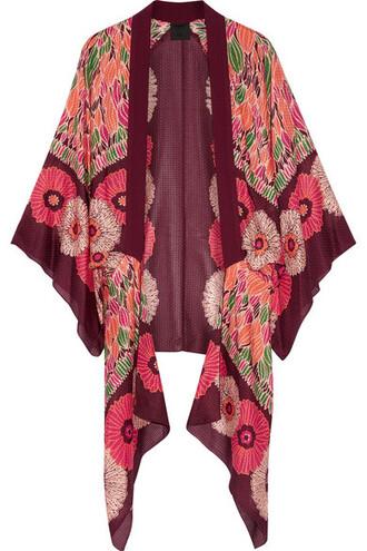 kimono cotton silk burgundy top