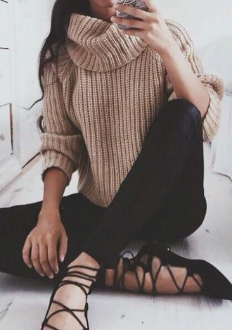 shoes sweater turtleneck laces strappy flats ballet flats