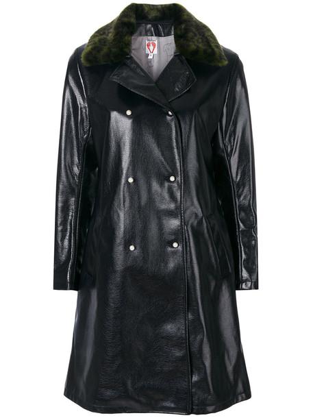 coat women leather blue