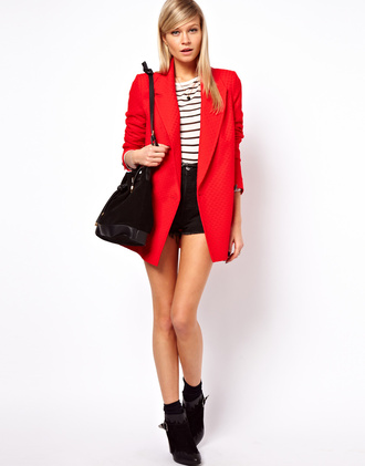 red coat long blazer