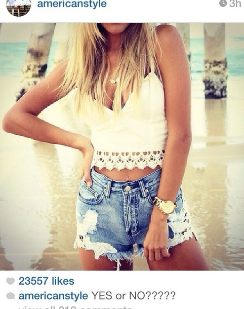 shorts denim cream top summer cute outfits girly watch necklace tank top jewels
